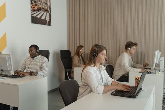 Customer support team handling calls